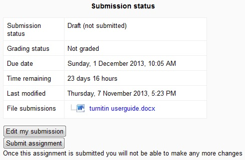 Submission status