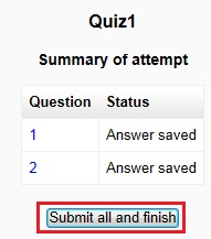 submit quiz